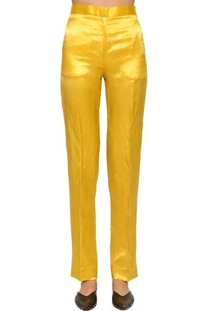 Jil Sander Slim Straight Leg Shiny Viscose Pants