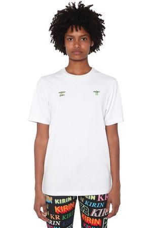 KIRIN Kvinna Front Embroidered Cotton Jersey T-shirt