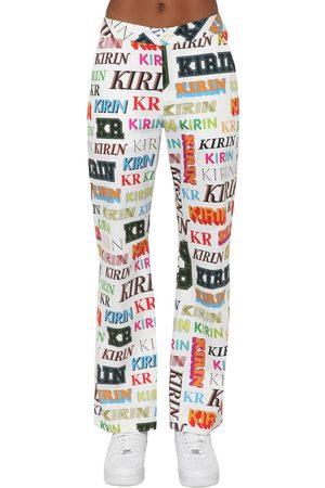KIRIN Kvinna Utsvängda byxor - Logo Printed Drill Wide Leg Pants