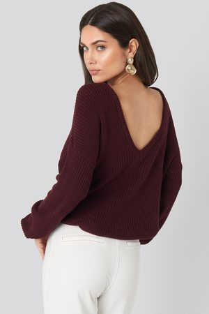 NA-KD Knitted Deep V-neck Sweater - Stickade tröjor - Lila - Large