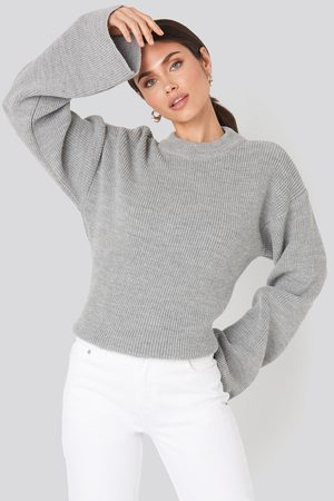 NA-KD Wide Sleeve Round Neck Knitted Sweater - Stickade tröjor - Grå - XX-Small