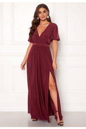 Goddiva Flutter Sleeve Maxi Dress Berry S (UK10)