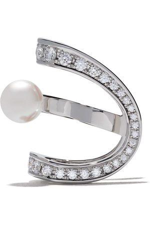 Tasaki Kvinna Örhängen - Aurora Akoya öronklämma i 18K vitguld med diamanter och pärla