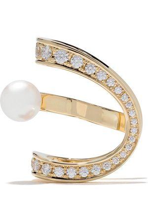 Tasaki Aurora Akoya öronklämma i 18K gult guld med diamanter och pärla