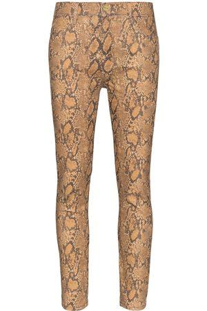 Frame Ormskinnsmönstrade jeans med hög midja