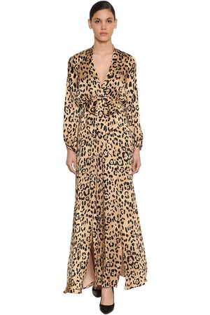 TEMPERLEY LONDON Leopard Print Silk Satin Dress