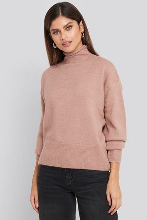 NA-KD Turtleneck Oversized Knitted Sweater - Stickade tröjor - Rosa - Medium