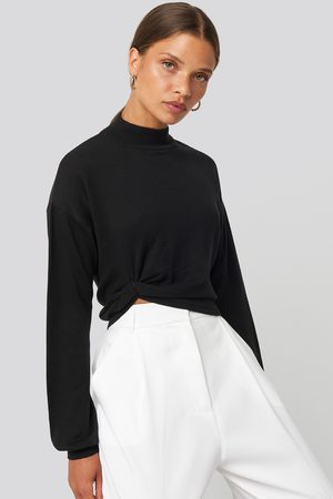 NA-KD Side Twisted Sweater - Stickade tröjor - Svart - XX-Small