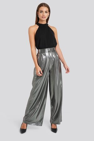 NA-KD High Waist Front Pleat Wide Leg Pants