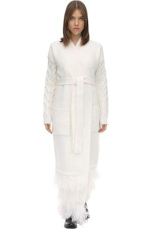 MAISON KALEIDOSKOPE Midi Wool Knit Cardigan Coat W/ Feathers