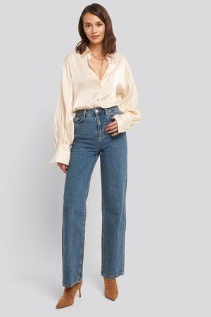 NA-KD Wide Leg Highwaisted Denim - High Waisted Jeans - Blå - EU 36