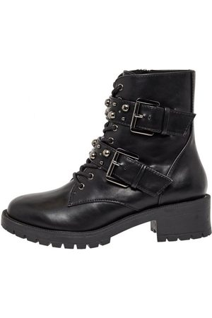 Bianco Leather boots Lace-up studded