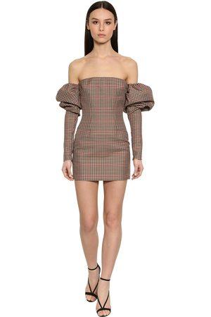 LAQUAN SMITH Kvinna Bandeauklänningar - Off Shoulder Puffy Sleeves Check Dress