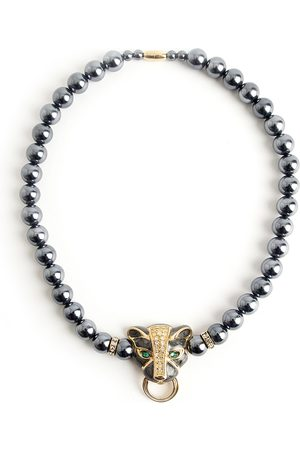Kenneth Jay Lane Pearled panther necklace