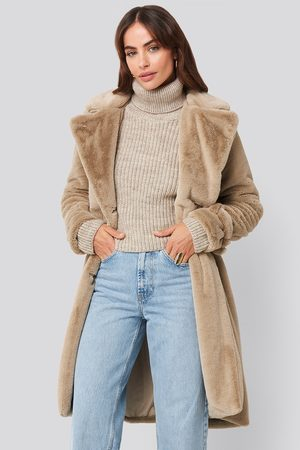 NA-KD Double Breasted Belted Faux Fur Coat