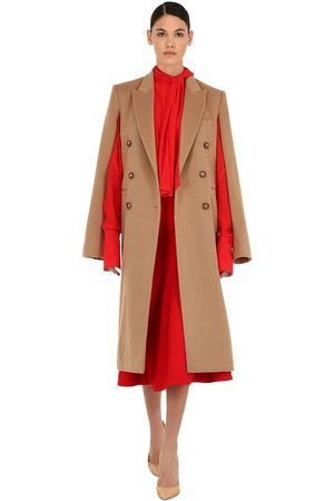 Victoria Beckham Double Breasted Virgin Wool Cape Coat