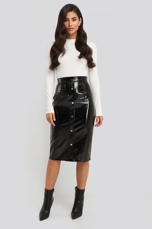 NA-KD Kvinna Midikjolar - Mid Length Button Up Pu Skirt - Midikjolar - Svart - EU 38