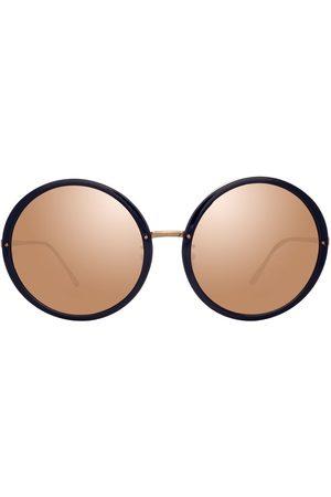 Linda Farrow Runda solglasögon med spegelglas