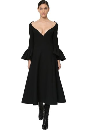 Marc Jacobs Wool Crepe Midi Dress W/ruffled Cuffs
