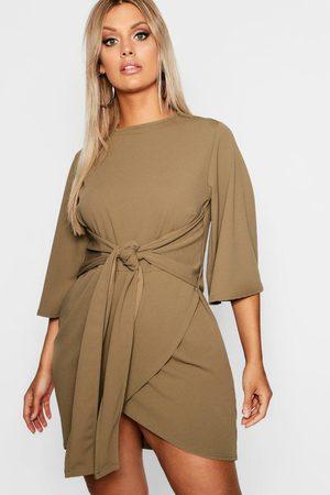 Boohoo Plus Kimono Sleeve Tie Waist Wrap Dress, Green