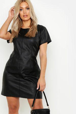 Boohoo Plus PU Cap Sleeve Shift Dress, Black