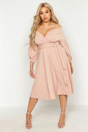 Boohoo Plus Off Shoulder Wrap Midi Dress