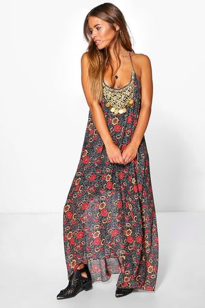 Boohoo Petite Floral Print Hanky Hem Dress, Black