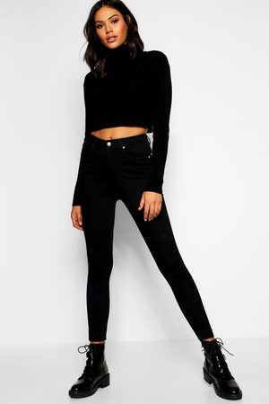 Boohoo Super High Waist Power Stretch Skinny Jeans, Black