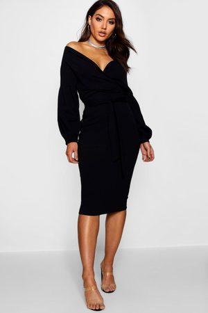 Boohoo Off the Shoulder Wrap Midi Dress, Black