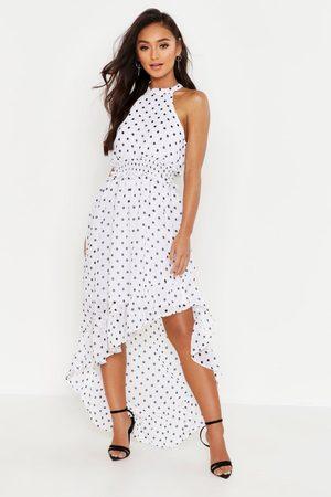 Boohoo Petite Polka Dot High Neck Shirred Waist Maxi Dress, White