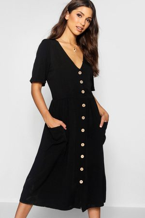 Boohoo Button Front Pocket Detail Midi Dress, Black