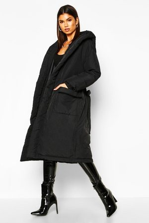 Boohoo Hooded Belted Longline Puffer, Black