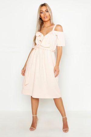 Boohoo Plus Plunge Ruffle Belt Midi Dress, Pink