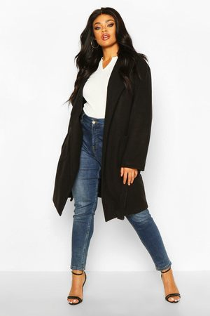 Boohoo Plus Heavy Wool Look Wrap Duster Coat, Black
