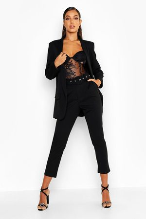 Boohoo Self Belt Tailored Trouser, Black