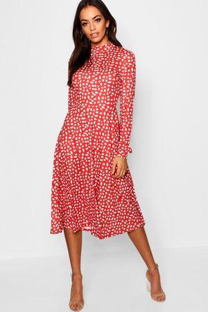 Boohoo High Neck Long Sleeve Dalmatian Print Midi Dress, Red