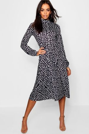 Boohoo High Neck Long Sleeve Dalmatian Print Midi Dress, Black