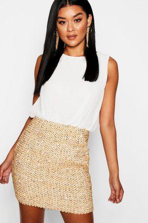 Boohoo 2 in 1 Chiffon Top Sequin Skirt Bodycon Dress, White
