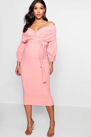 Boohoo Maternity Off The Shoulder Wrap Midi Dress