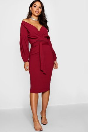 Boohoo Off the Shoulder Wrap Midi Dress, Red