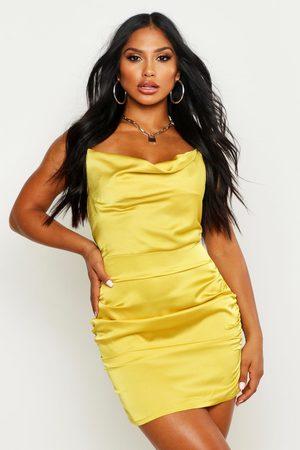Boohoo Florence Satin Cowl Neck Bodycon Dress, Yellow