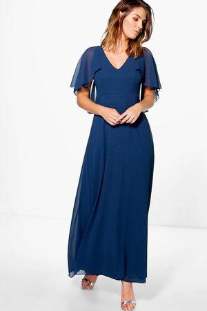 Boohoo Chiffon Cape Detail Maxi Dress, Blue