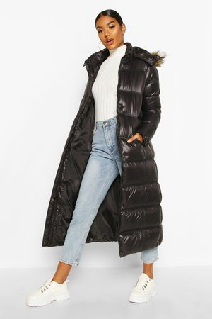 Boohoo Maxi Cire Panelled Padded Jacket With Faux Fur Trim, Black