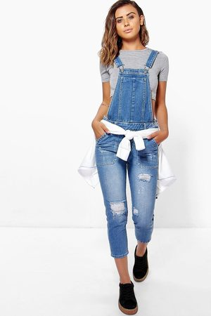 Boohoo Petite Mid Blue Distressed 3/4 Dungaree, Blue