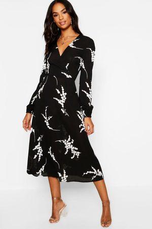 Boohoo Tall Floral Print Wrap Midi Dress, Black