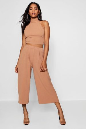 Boohoo Rose High Neck Crop & Long Culotte Co-Ord Set