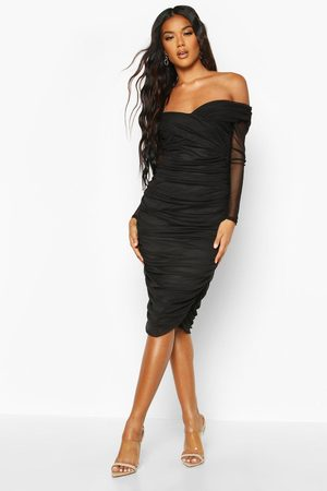 Boohoo Off Shoulder Ruched Mesh Bodycon Midi Dress, Black