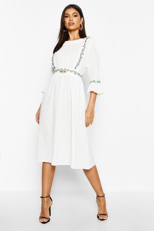 Boohoo Embroidered Ruffle Sleeve Midi Dress, White