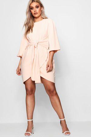 Boohoo Plus Kimono Sleeve Tie Waist Wrap Dress, Pink