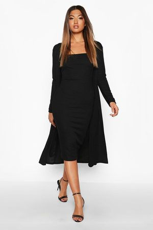 Boohoo Ribbed Midi Dress & Duster Set, Black